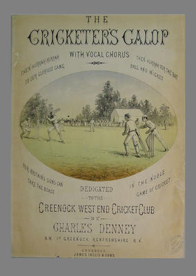 """""""The Cricketer's Galop"""" - sheet music cover"""