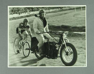 Photograph of Hubert Opperman during Wangaratta Exhibition Ride, 1946; Photography; 1986.1072
