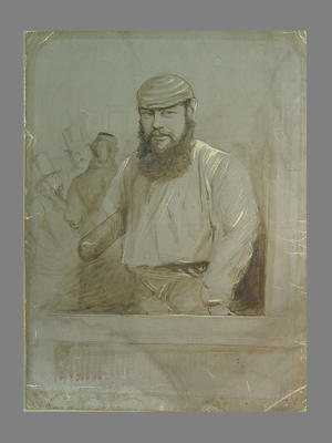 Sketch in brown on grey paper:  cricketer W. G. Grace with bat under arm c.1860