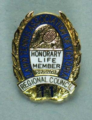 Badge, Lawn Tennis Association of Victoria Honorary Life Membership