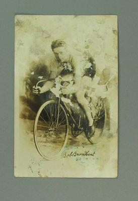 Sepia-toned photographic postcard of Bob Broadbent, possibly at Paris Olympiad, 1924