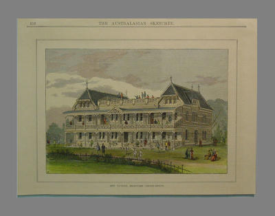 Engraving 'New Pavilion, Melbourne Cricket Ground'  from 'The Australasian Sketcher'