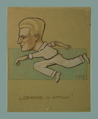 Drawing - 'Larwood in Action' - caricature of Harold Larwood  by Underwood, 1932