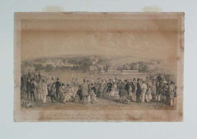 "Lithograph, ""Kent v All England at Canterbury"" - 4 August 1845; Artwork; M6414"
