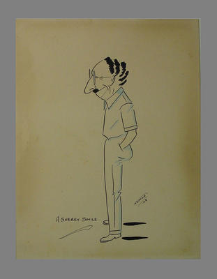 """A Surrey Smile"" by 'Nomad' - caricature of English cricketer Percy Fender, 1928"
