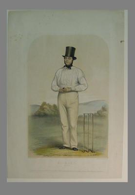 """Lithograph, """"Bickley, bowler"""" - circa 1855"""