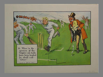 """Perrier 'The Laws of Cricket' No.13  """"When (in the opinion).."""" , by Charles Crombie"""