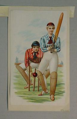 Image of two women in cricket attire as batsman & wicket keeper - part of a series of six prints