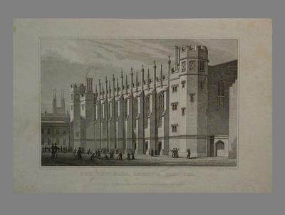 "Print, ""The New Hall, Christ's Hospital"" - 1828"