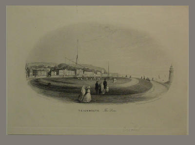Engraving: 'Teignmouth, The Den' by G. Townsend, published H. Besley, Exeter