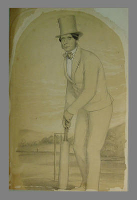 Lithograph: Cricketer at the wicket with bat, c.1850, artist J.C. Anderson
