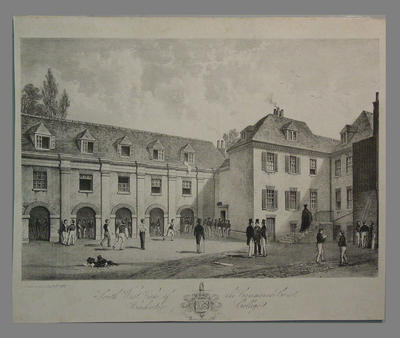 """""""South West View of the Commoners Court, Winchester College"""" 1838"""