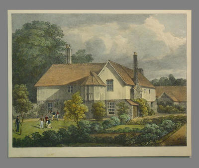 """Coloured lithograph titled """"Rectory House"""""""