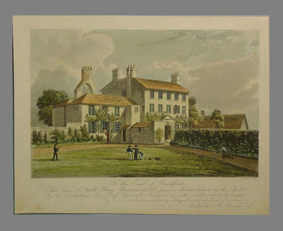 """""""Hall Place, Beaconsfield """", engraver Alfred Freebairn, c.1850"""
