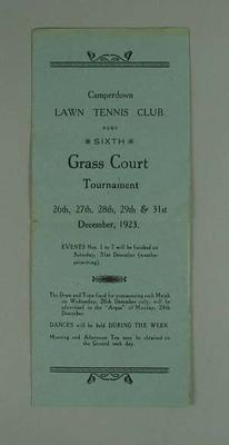 Programme for Camperdown Lawn Tennis Club Sixth Grass Court Tournament, 26-31 December 1923