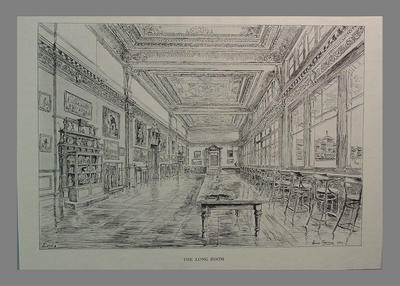 """Lords - The Long Room"" - print of drawing by Hanslip Fletcher 1949"