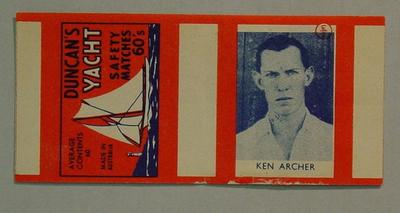 Matchbox wrapper with image of Ken Archer, Duncan's Yacht Safety Matches 60's