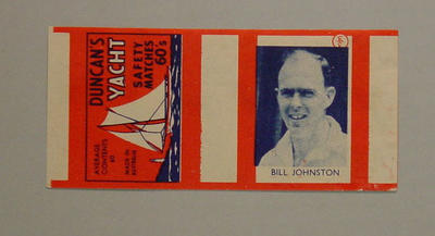 Matchbox wrapper with image of Bill Johnston, Duncan's Yacht Safety Matches 60's