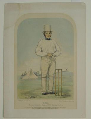 """English cricketer:  """"Box - Sketches at Lords No. 9 """""""