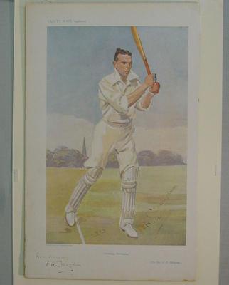 "Print from Vanity Fair supplement, ""Cricketing Christianity - Rev. F.H. Gillingham"" - artist Spy,  c 1906"