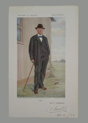 "Signed print, ""Buns - C I Thornton"" - artist Spy, 1921"