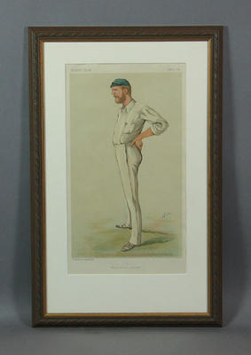 "Chromolithograph: ""Australian Cricket"" , G.J. Bonner, artist Ape, Vanity Fair 1884; Artwork; Framed; M12027"