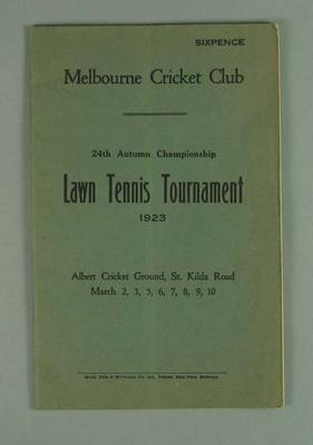 Programme for Melbourne Cricket Club Autumn Lawn Tennis Tournament, 1923