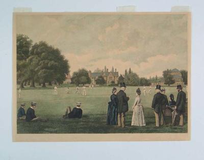 Hand-coloured etching, depicts cricket match at Rugby School - 1889; Artwork; M6213
