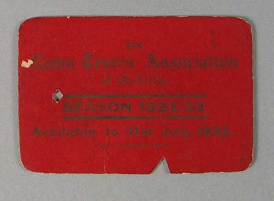 Member's ticket for the Lawn Tennis Association of Victoria, season 1932-33
