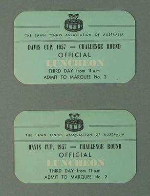 Luncheon tickets for 1957 Davis Cup