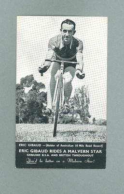 Eric Gibaud (Holder of Australian 10 Mile Road Record) Riding a Malvern Star Cycle
