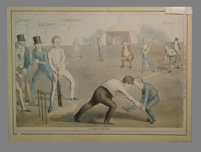 """Print, """"A Game of Cricket - Monthly Sheet of Caricatures No. 64"""""""