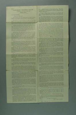 Fitzroy Tennis Club annual report, season 1921-22