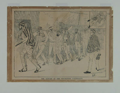 """Print - """"The Return of the Cricketing Contingent"""" - artist Phil May, 'The Bulletin', 1/1/1887"""