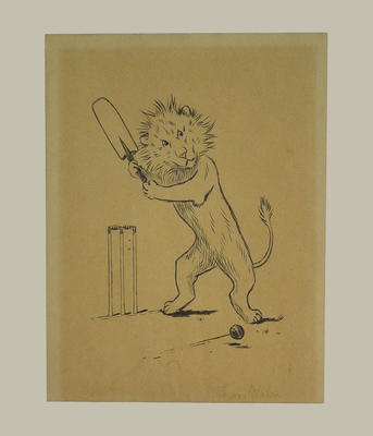 Print:    A  lion playing cricket