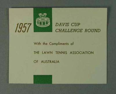 Compliments card produced for 1957 Davis Cup Challenge Cup Round