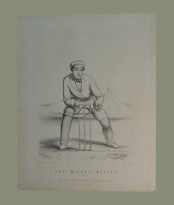 """""""The Wicket Keeper, No. 8"""", by John C. Anderson published by F. Lillywhite 1860"""