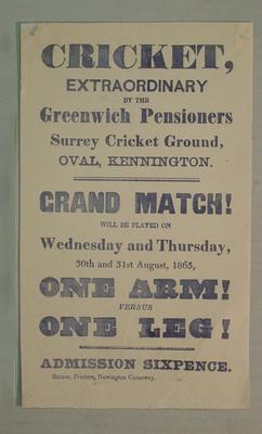 Handbill, Greenwich Pensioners at Surrey Cricket Ground, Oval Kennington, August 1865