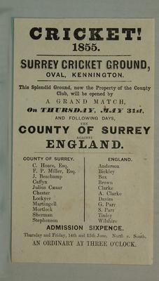 Handbill, County of Surrey v England, Oval Kennington, May 1855