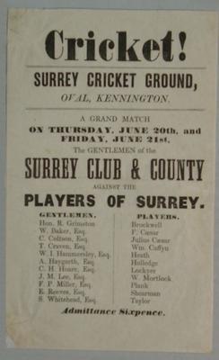 Handbill, Gentlemen Surrey Club & County v Players of Surrey - 20 & 21 June c.1850s