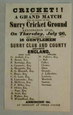 Handbill, 16 Gentlemen of Surry [sic] Club & County v England - July 1855