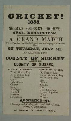 Handbill, County of Surrey v County of Sussex - July 1855