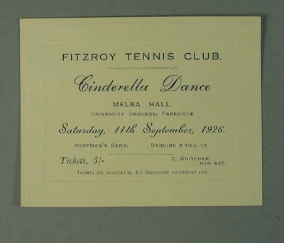 Ticket for Fitzroy Tennis Club Cinderella Dance, 11 September 1926