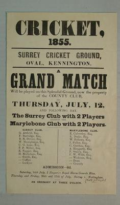 Handbill, The Surrey Club & 2 Players v The Marylebone Club & 2 Players - July 1855