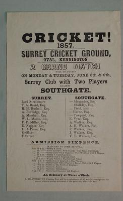 Handbill, Surrey Club with 2 Players v Southgate - June 1857