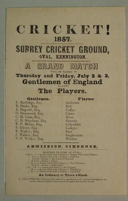 Handbill, Gentlemen of England v The Players - July 1857