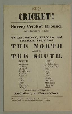 Handbill, The North v The South - July 1852