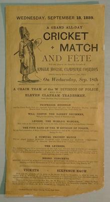 Handbill, W Division Police v Eleven Clapham Tradesmen - 18 September 1889