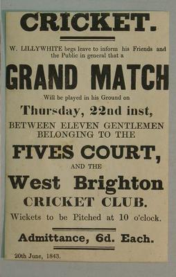 Handbill, Eleven Gentlemen of the Fives Court v West Brighton CC - 22 June 1843