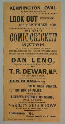 Handbill, Dan Leno Music Hall Artist's Team v T R Dewar Old English Team - 1901